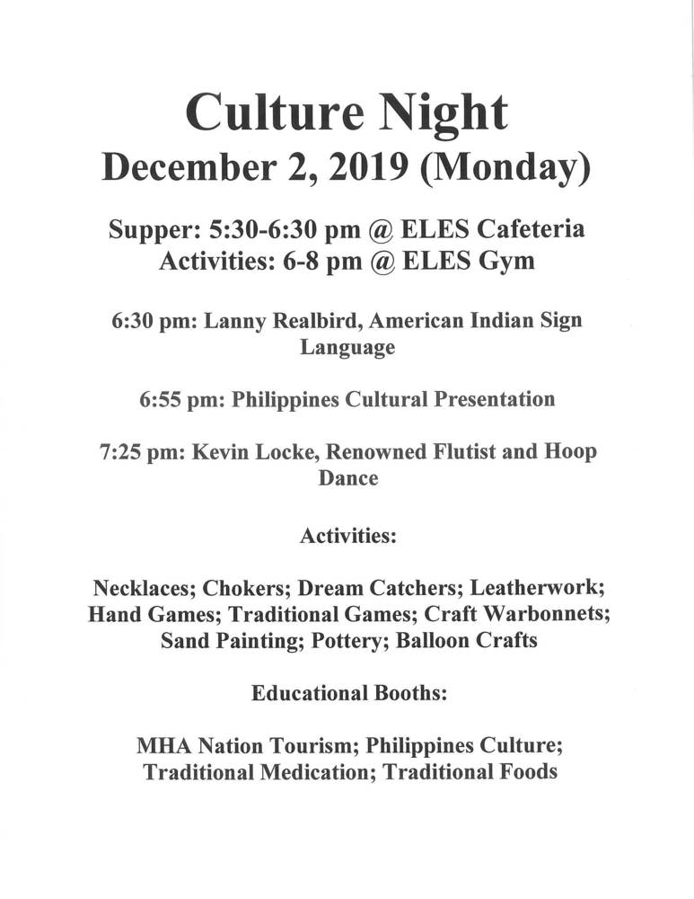 Culture Night is Schedule for December 2, 2019 at Edwin Loe Elementary