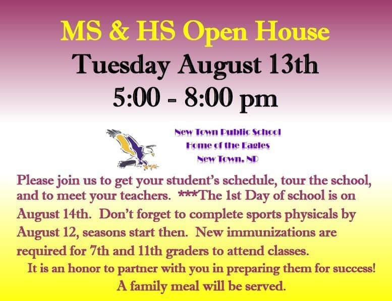 Open House on Tuesday August 13th at NTMS and NTHS