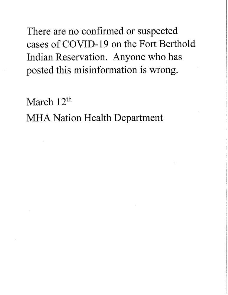 COVID-19 and the MHA Nation