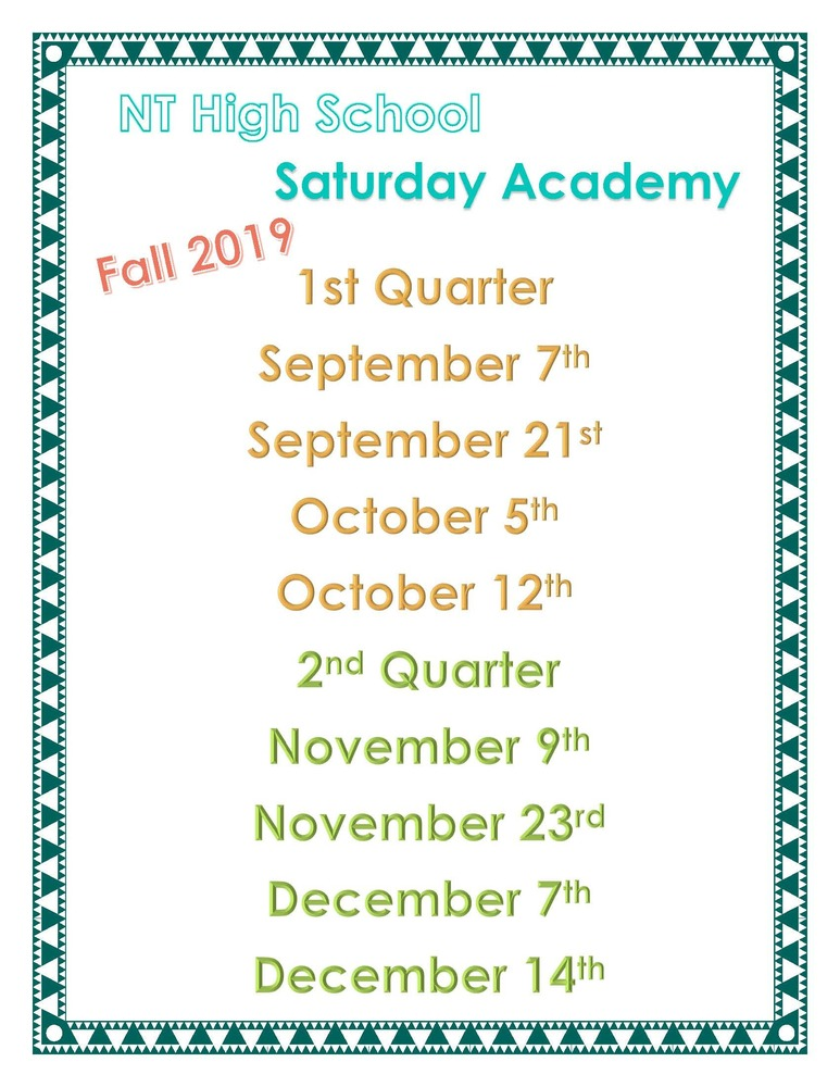 High School Fall Saturday Academy Schedule